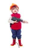 安全帽的两年婴孩有钻子的 免版税库存照片