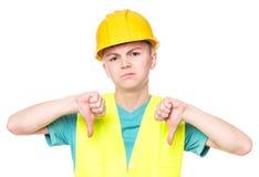 安全帽的青少年的男孩 图库摄影