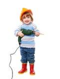 安全帽的婴孩有钻子的 库存图片