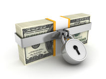安全挂锁锁的一百美元组装 库存图片