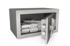安全有金钱的金属保险柜 库存图片