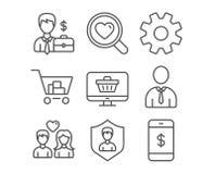安全机关、网商店和服务象 互联网购物、人和夫妇爱标志 库存例证