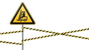 安全标志 小心-自动装卸机的危险运动 障碍磁带 奶油被装载的饼干 也corel凹道例证向量 库存图片