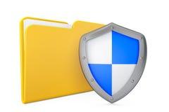 安全概念。与盾的文件夹象 免版税库存照片