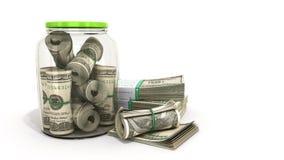 安全概念在一个玻璃瓶子3d的许多100张美元钞票关于 皇族释放例证
