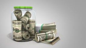 安全概念在一个玻璃瓶子3d的许多100张美元钞票关于 库存例证