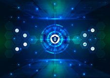 安全概念,在数字,网络安全,蓝色摘要喂速度互联网技术传染媒介背景闭合的挂锁 向量例证