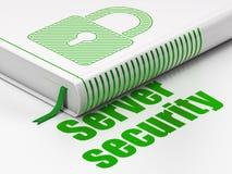 安全概念:书被关闭的挂锁,服务器 免版税库存图片