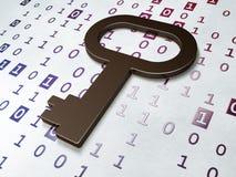 安全概念:在二进制编码背景的钥匙 图库摄影