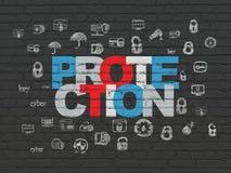 安全概念:在墙壁背景的保护 免版税图库摄影