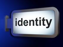 安全概念:在广告牌背景的身分 库存照片