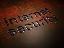 安全概念:在数字式屏幕背景的互联网安全 库存图片