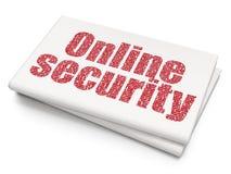 安全概念:在空白的报纸背景的网上安全 免版税库存图片