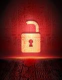 安全概念:在网络空间的被打开的挂锁。 库存图片