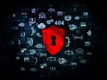 安全概念:有匙孔的盾在数字式 库存图片