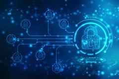 安全概念:锁在数字式屏幕,网络安全概念背景上 第2个例证 皇族释放例证