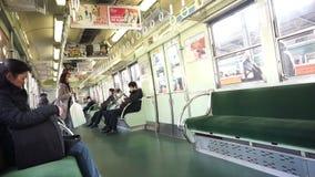 安全渡过火车的大阪,日本当地日本人到京都早晨 股票录像