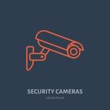 安全监控相机传染媒介平的象,安全保护系统商标 录影被监测的区域的平的标志 免版税库存照片
