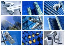 安全监控相机和都市录影拼贴画  免版税库存图片