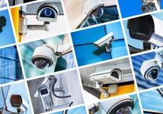 安全监控相机和都市录影拼贴画  免版税库存照片