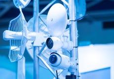 安全监控相机和都市录影有雷达的 免版税库存图片