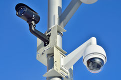 安全监控相机特写镜头 库存照片