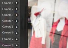 安全监控相机App接口服装店 免版税库存照片
