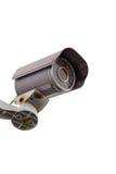 安全监控相机CCTV有被隔绝的白色背景 库存图片