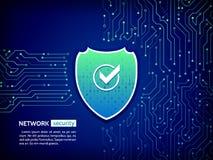 安全盾概念 互联网安全 传染媒介例证数字式保护 库存照片