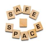 安全空间木头瓦片 免版税库存图片