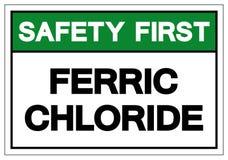 安全第一氯化铁标志标志,传染媒介例证,在白色背景标签的孤立 EPS10 向量例证
