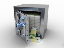 安全箱和欧洲金钱在白色背景 库存图片