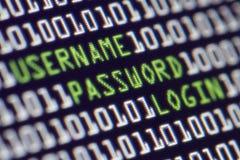 安全计算机密码 库存图片