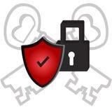 安全象传染媒介例证,红色,挂锁,钥匙 免版税库存图片