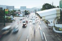 安全运行在路的CCTV照相机 免版税库存图片