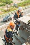 安全防护器材的建造者工作者 免版税库存照片