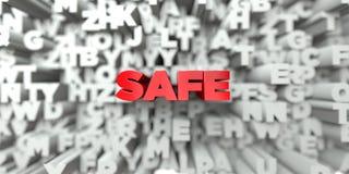 安全-在印刷术背景的红色文本- 3D回报了皇族自由储蓄图象 皇族释放例证