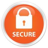 安全(挂锁象)优质橙色圆的按钮 免版税图库摄影