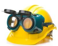安全建筑帽子和风镜 库存照片