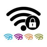 安全wifi标志平的象传染媒介例证密码Wi-Fi标志 无线网络 库存图片