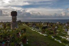 安加罗阿的,复活节岛,智利公墓 免版税库存图片