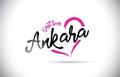 安卡拉我爱与手写的字体和桃红色心形的词文本 库存图片
