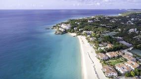 安圭拉海滩鸟瞰图  库存照片