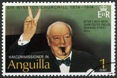 安圭拉- 1974年:展示温斯顿Spencer丘吉尔1874-1965,做胜利标志的丘吉尔先生 库存照片