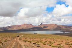 安地斯,玻利维亚的altiplano的盐水湖Morejon 免版税图库摄影