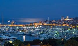 安地比斯在法国海滨的夜之前 免版税库存照片