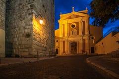 安地比斯,法国海滨,法国:圣母无染原罪瞻礼的教会 免版税库存照片