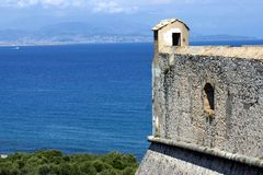 安地比斯carre堡垒法国海滨 免版税图库摄影