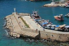 安塔利亚耶路撒冷旧城小游艇船坞 库存图片