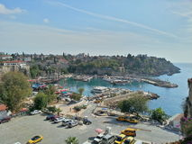 安塔利亚,土耳其老镇和港口  免版税库存照片
